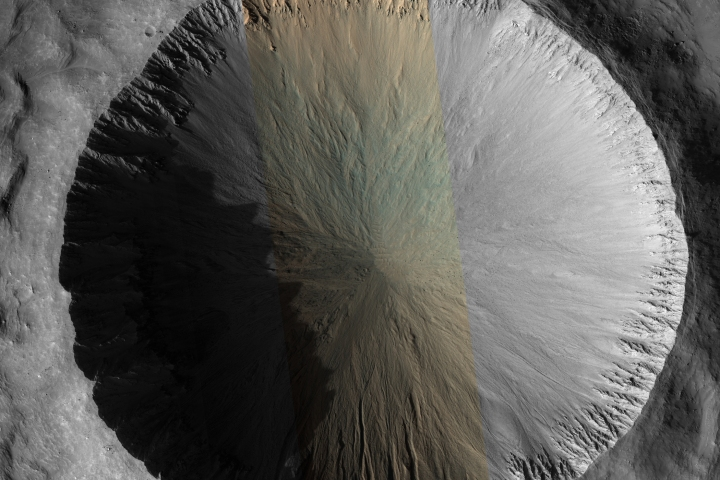 "The 4 kilometer (2.5 mile) diameter crater in this image appears relatively fresh, but with little erosion or underground upheaval on Mars and no evidence of an extremely recent meteor hit, ""fresh"" is a relative term."