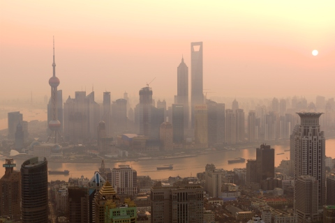 Hazy skies above a sprawling Shanghai due to polution.