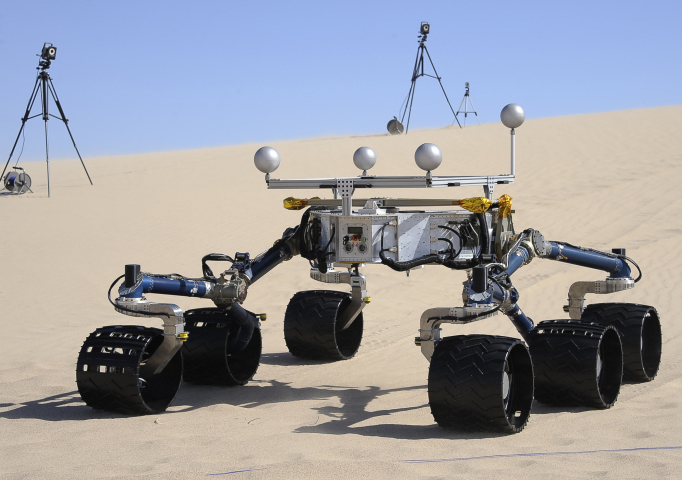 Curiosity is carrying the most advanced payload of scientific gear ever used on Mars' surface, a payload more than 10 times as massive as those of earlier Mars rovers. Its assignment: investigate whether conditions have been favorable for microbial life and for preserving clues in the rocks about possible past life. Here, an engineering model of the Curiosity rover is tested in the Dumont Dunes near Baker, Calif., on May 10, 2012.
