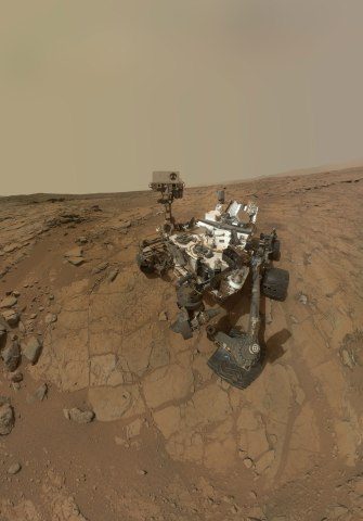 A self-portrait of the Mars rover Curiosity combines dozens of exposures taken by the rover's Mars Hand Lens Imager (MAHLI) during the 177th Martian day of Curiosity's work on Feb. 3, 2013 on the planet Mars. Curiosity landed on the planet on August 5, 2012.