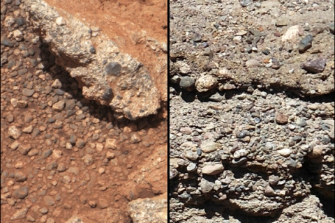 This set of NASA handout images compares the Link outcrop of rocks on Mars (L) with similar rocks seen on Earth (R).