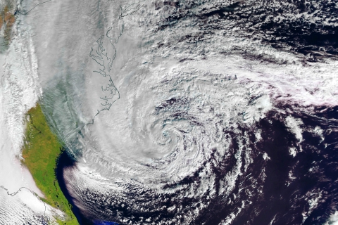 A handout picture shows Hurricane Sandy off the US east coast, with maximum sustained wind speeds of 140 km/h.