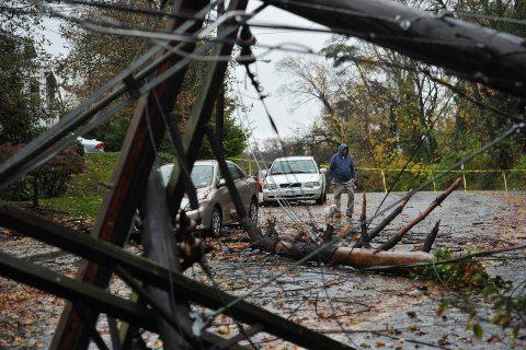 A man walks his dog near downed power lines in the wake of Hurricane Sandy October 30, 2012 in Chevy Chase, Maryland.