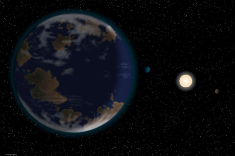 image: An artist's rendering of the new world with its parent star and two of its sister planets.