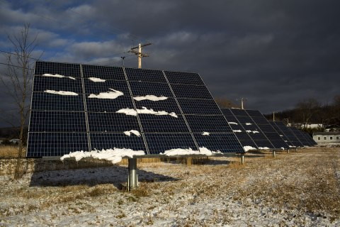 image: Photovoltaic panels track and rotate along the path of the sun in Hinesburg, Vt., Dec. 24, 2012.