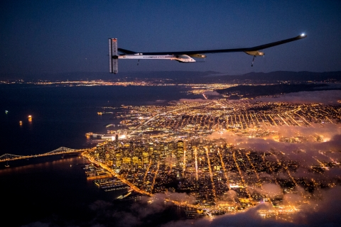 Solar Impulse night flight over San Francisco