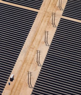 Aerial View of the Desert Sunlight Solar Farm under construction in the Mojave Desert, that will use approximately 8.8 million cadmium telluride thin-film solar photovoltaic modules made by First Solar, on April 5, 2013.