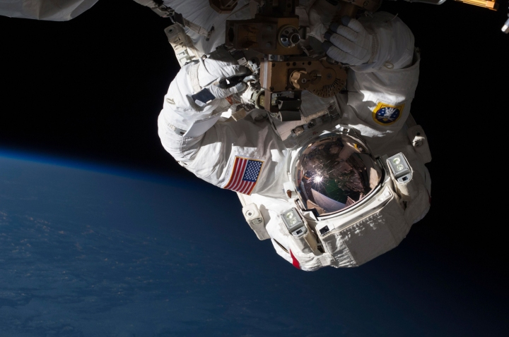 NASA Expedition 35 Flight Engineer Chris Cassidy conducts a spacewalk to inspect and replace a pump controller box on the International Space Station's far port truss (P6) which was leaking ammonia coolant, on May 11, 2013.