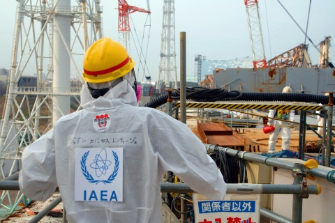 Juan Carlos Lentijo, the leader of the IAEA Division of Nuclear Fuel Cycle and Waste Technology, inspecting the unit four reactor building of the TEPCO Fukushima Dai-ichi nuclear power plant in Okuma, Japan, on April 17, 2013.