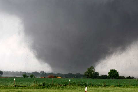 A tornado passes across south Oklahoma City, May 20, 2013.