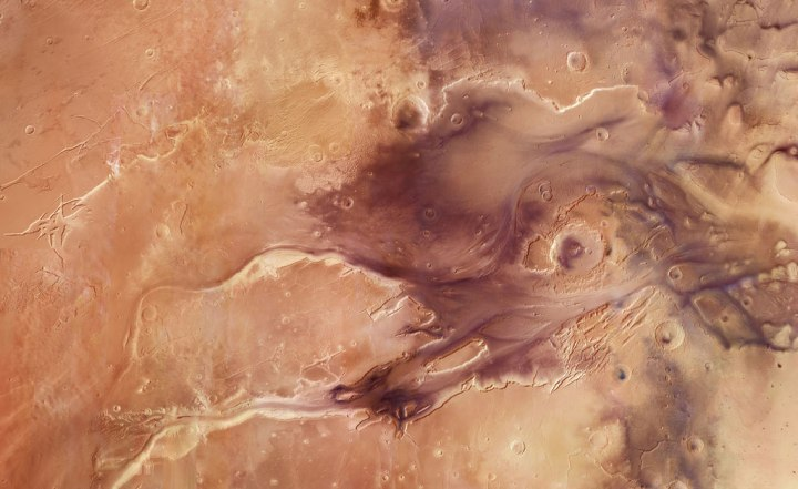 A mosaic featuring the spectacular Kasei Valles on Mars, comprised of 67 images taken with the High Resolution Stereo Camera on ESA's Mars Express, on June 6, 2013. The mosaic spans 987 km north–south (19–36°N) and 1550 km east–west (280–310°E).