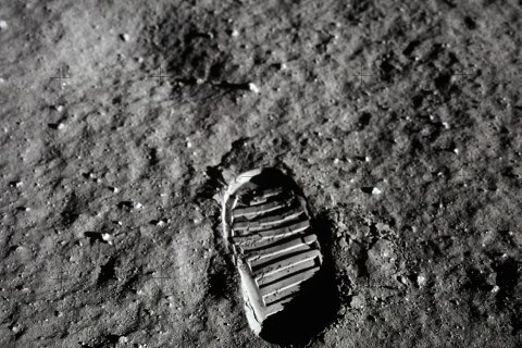 Astronaut Neil Armstrong's footprint when he first stepped out of the Apollo 11 and onto the moon, July 20, 1969.