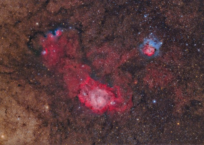The M8 and M20 Nebulas. These summertime nebulas are in the constellation Sagittarius. The image was taken from the Likely Place RV Resort in California, in Aug. 2013.