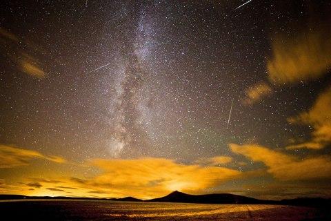 Perseid Meteor shower at Chapel of Garioch, near Aberdeen, Scotland, on Aug. 12, 2013.