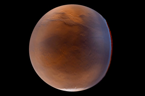 Global view of Mars showing Valles Marineris and the south pole.