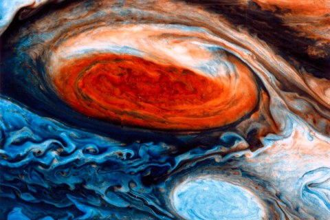 A close up of the Great Red Spot on Jupiter, a storm that has been raging in the gas giant's atmosphere for at least three hundred years.