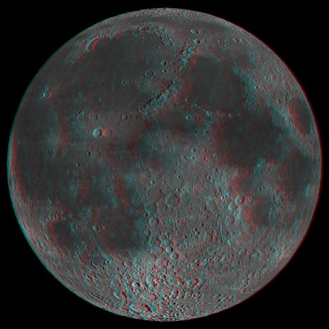 A 3D anaglyph of the Moon