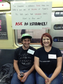 From left: David Marsh and Renee Hlozek ride the subway in New York City.