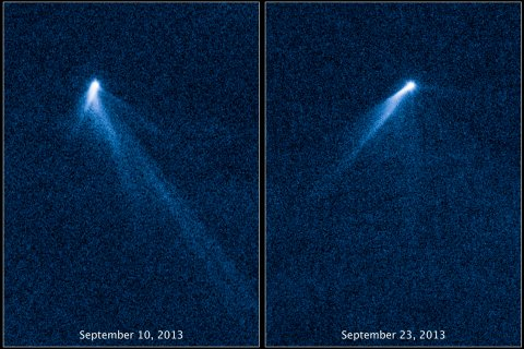 A set of six comet-like tails radiating from a body in the asteroid belt, designated P/2013 P5, are seen in a NASA Hubble Space Telescope set of images, released Nov. 7, 2013.
