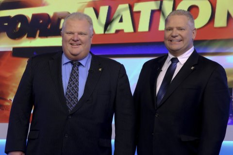 From left: Rob and Doug Ford taping their new show, Ford Nation at Sun Tv. on Nov. 17, 2013.