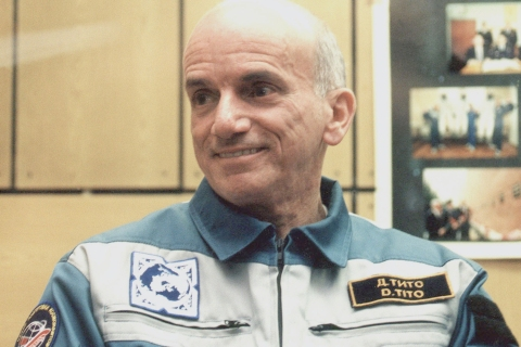 Baikonur, kazakhstan, april 27, 2001, us millionaire dennis tito seen pictured during pre-flight press-conference, as he will blast into space on saturday for usd 20 million and will thus develop the long-standing soviet 'political' space tourism tra
