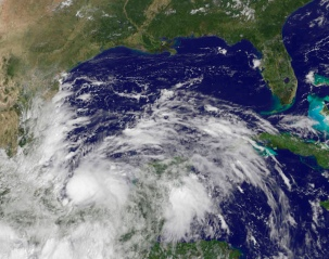 Tropical Storm Ingrid in a NOAA GOES-East satellite image captured on Sept. 13, 2013.
