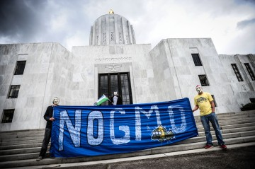 Protesters march and rally at the State Capitol in Oregon, against Monsanto and GMOs on Oct. 12, 2013.