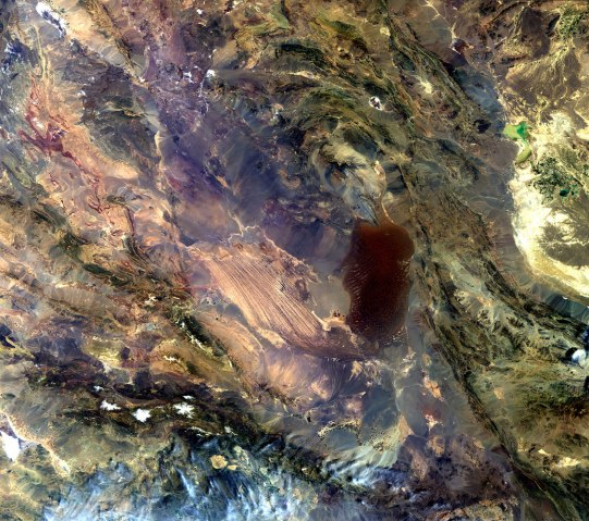 The Dasht-e Lut salt desert in southeast Iran, often called the 'hottest place on Earth' as satellites have measured record surface temperatures there for several years, recorded by Envisat