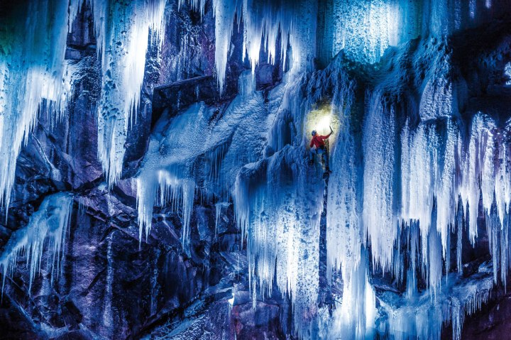Dani Arnold climbs the icefalls in an ice cave, located in Gol, Norway.