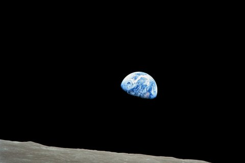 The iconic 'Earthrise' over the horizon of the moon during the Apollo 8 mission, on Dec. 24, 1968.