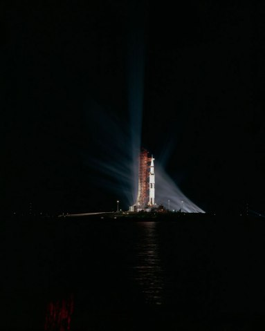 Pre-launch night views of Apollo 8 at Kennedy Space Center in Florida, in 1968.