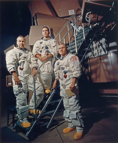 From left: James A. Lovell Jr., William A. Anders and Frank Borman in their space suits on a Kennedy Space Center simulator in Florida, on Nov. 13, 1968.