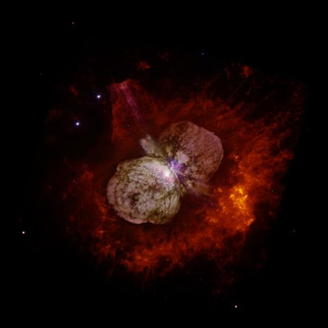 A huge, billowing pair of gas and dust clouds are captured in this stunning NASA Hubble Space Telescope image of the supermassive star Eta Carinae.