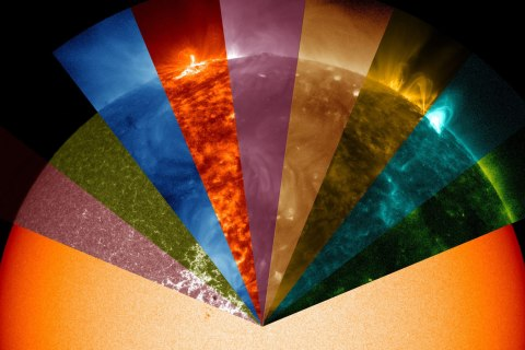 A still image taken from a NASA movie of the sun based on data from NASA's Solar Dynamics Observatory (SDO), showing the wide range of wavelengths, invisible to the naked eye, that the telescope can view.