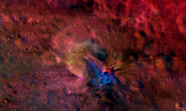 A composite image of the flow of material inside and outside a crater called Aelia on the surface of the giant asteroid Vesta, from NASA's Dawn mission, released on Dec. 16, 2013.
