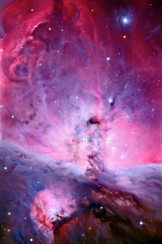 Orion nebula's center, a cloud of gas and dust known as M42.
