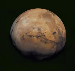 A mosaic of Mars made from a compilation of images captured by the Viking Orbiter 1.