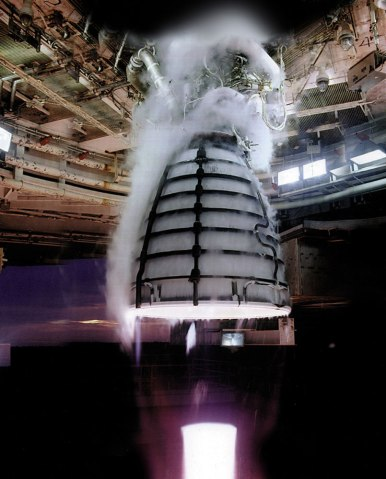 Four RS-25 engines undergoing a hot-fire test, will power the core stage of NASA's Space Launch System (SLS), NASA's new heavy-lift launch vehicle.