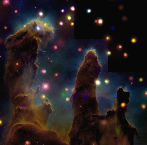 The Eagle Nebula, Chandra and Hubble Telescopes, July 30, 2001.