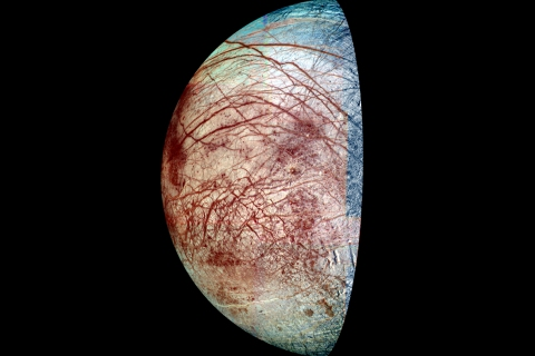 Europa, a moon of Jupiter, from NASA's Galileo spacecraft, which has been orbiting Jupiter since 1995.