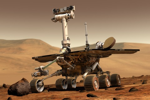 An artist's concept of NASA Mars Exploration Rover Opportunity.