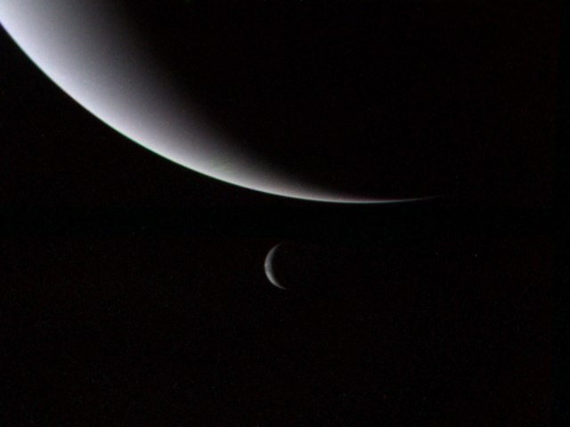 Neptune and Triton, Voyager II, Aug. 28, 1989.