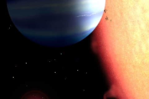 An artist's conception of a hot-Jupiter  extrasolar planet orbiting a star similar to tau Boötes.